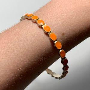 Vintage Orange Metal and Resin Bangle Bracelet